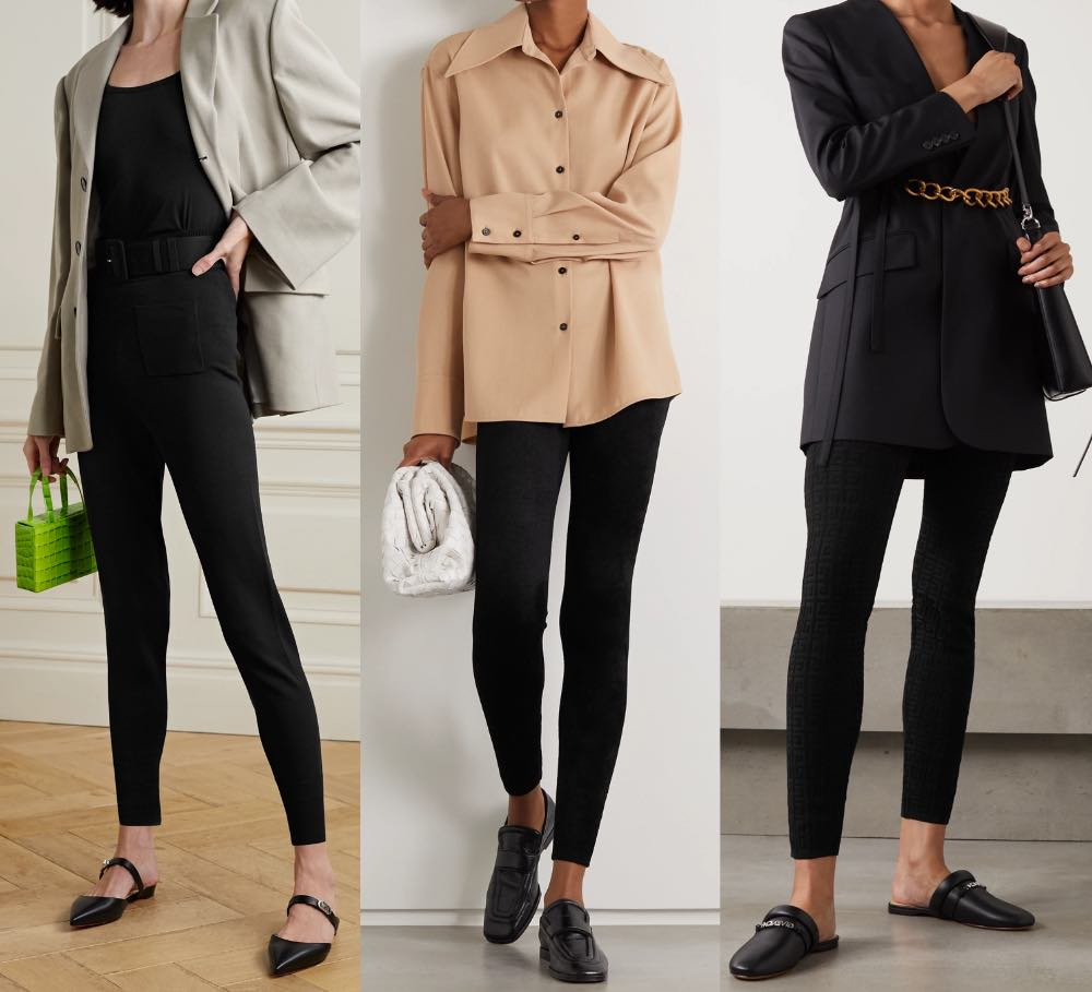 3 women showing how to wear leggings to work with black legging and various structured tops.