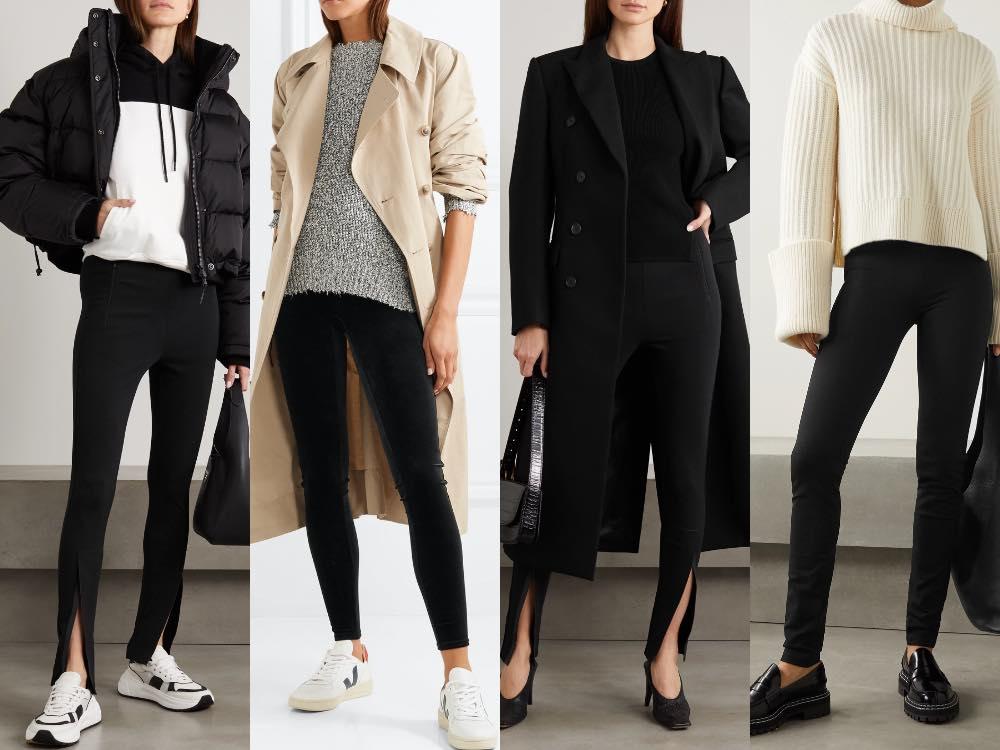 4 women showing how to wear black leggings in winter.
