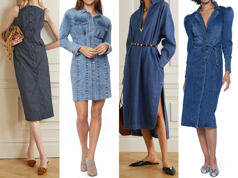 4 models illustrating what shoes to wear with a denim dress in different styles.