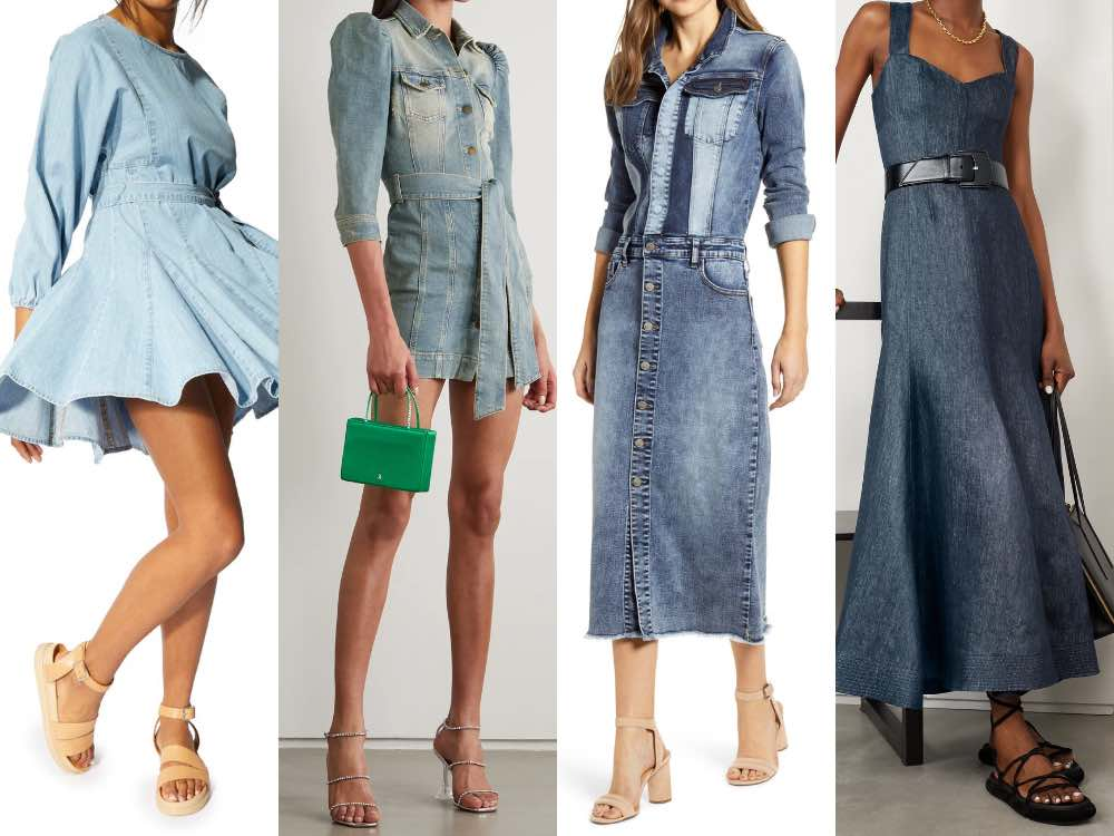 4 models illustrating what boots to wear with a denim dress.