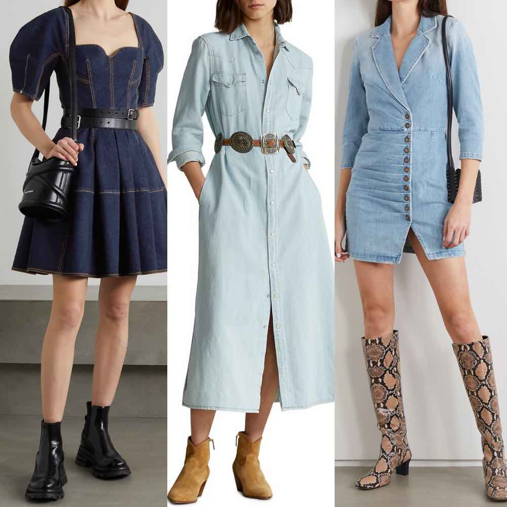 3 models wearing what boots to wear with a denim dress.