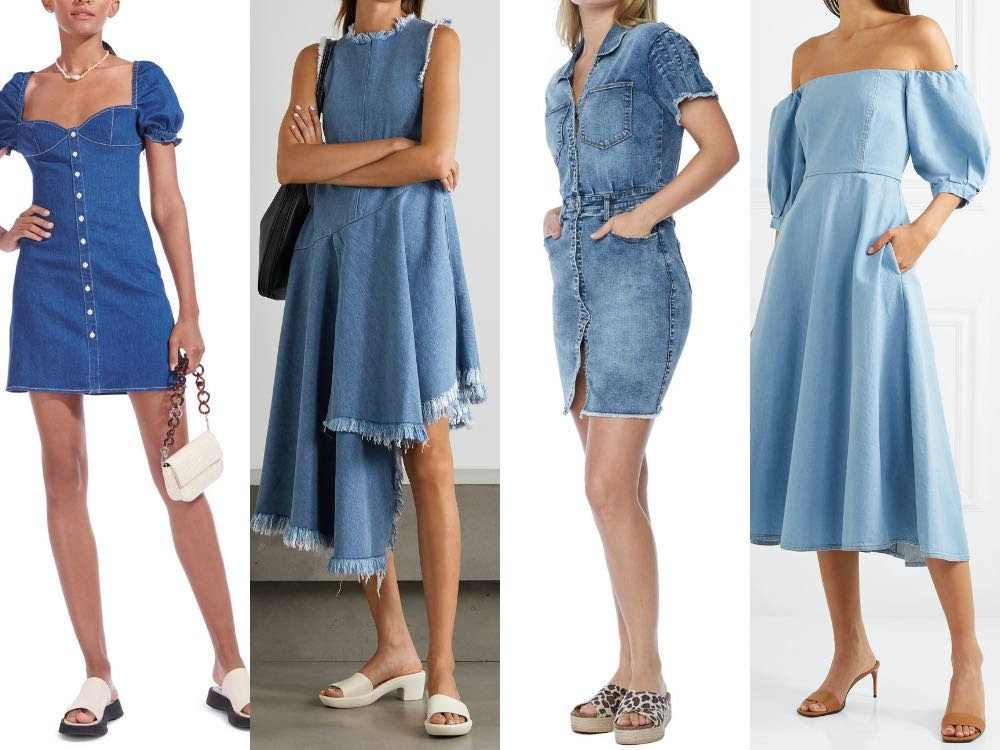 4 models illustrating slides shoes to wear with a denim dress in different styles.