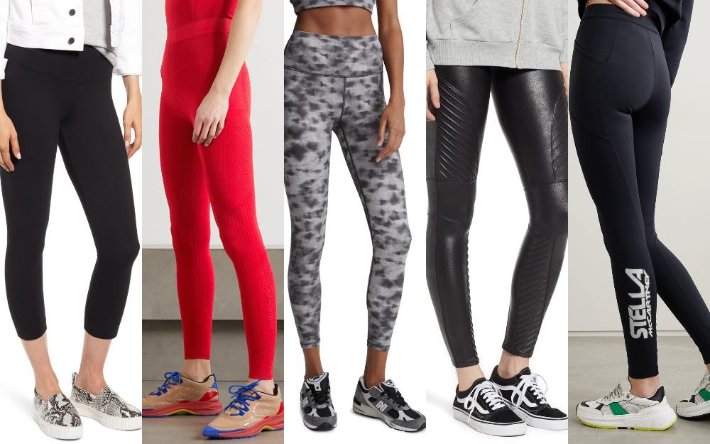 4 women showing how to wear sneakers with leggings.