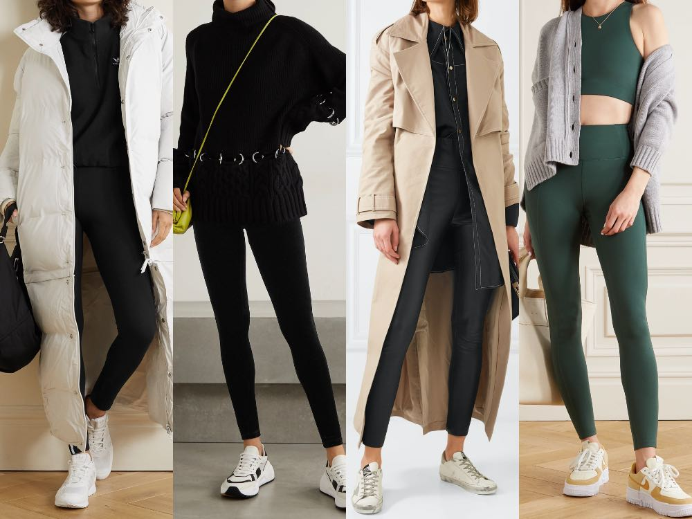 4 women showing how to wear leggings with sneakers.