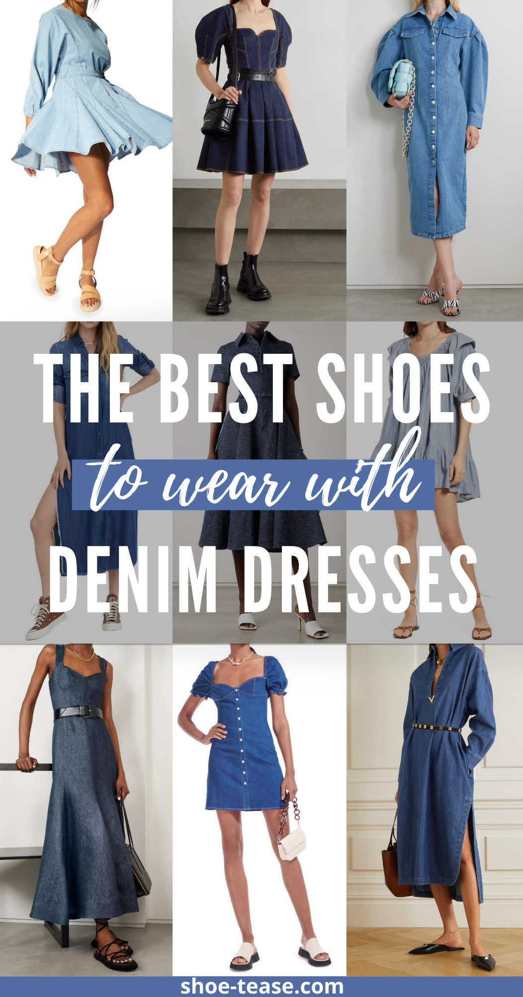Collage of models illustrating what Shoes to wear with a denim dress.