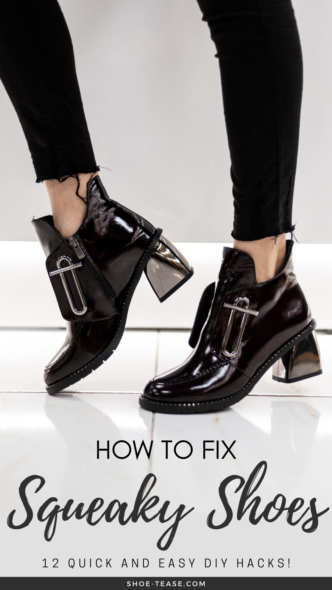 How to fix squeaky shoes text under image of woman wearing patent leather booties walking on shiny tiles.