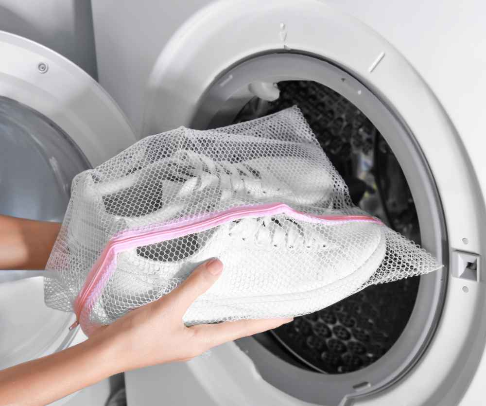 Stop squeaky shoes by putting them in a mesh bag in the dryer.